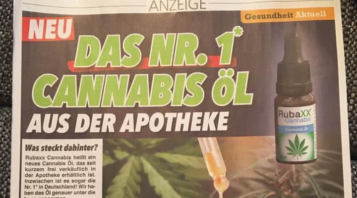 Zeitung Werbung für rubaxx cannabisöl