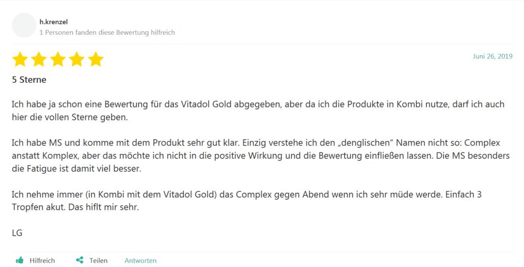 CBD Öl Bewertung des Vitadol Complex 10% von H. Krenzel